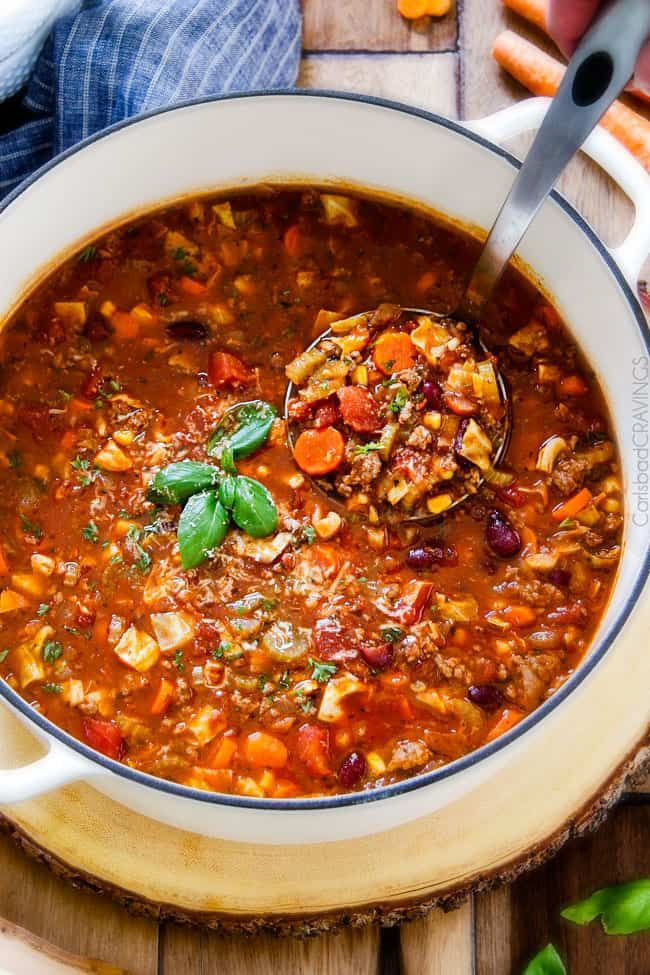 30 minute Italian Vegetable Soup – This is the BEST version I have tried – my family begs me to make this soup! hearty, comforting chunks of ground beef and veggies in an Italian spiced tomato broth - SO good and easy!