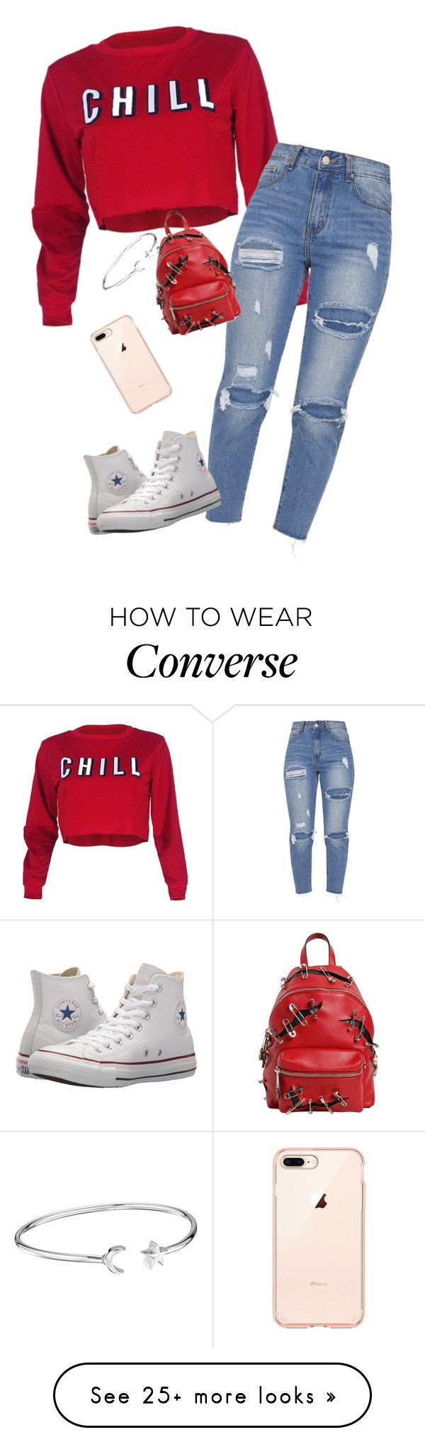 """Netflix is the only thing you need"" by theycallmemandy on Polyvore featuring Converse, Moschino and Alex and Ani"