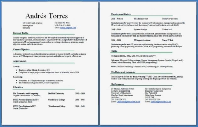 resume examples multiple pages