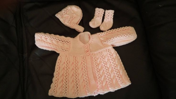 Hand Knitted Baby Girls Matinee Set by BellaBooAndEllie on Etsy