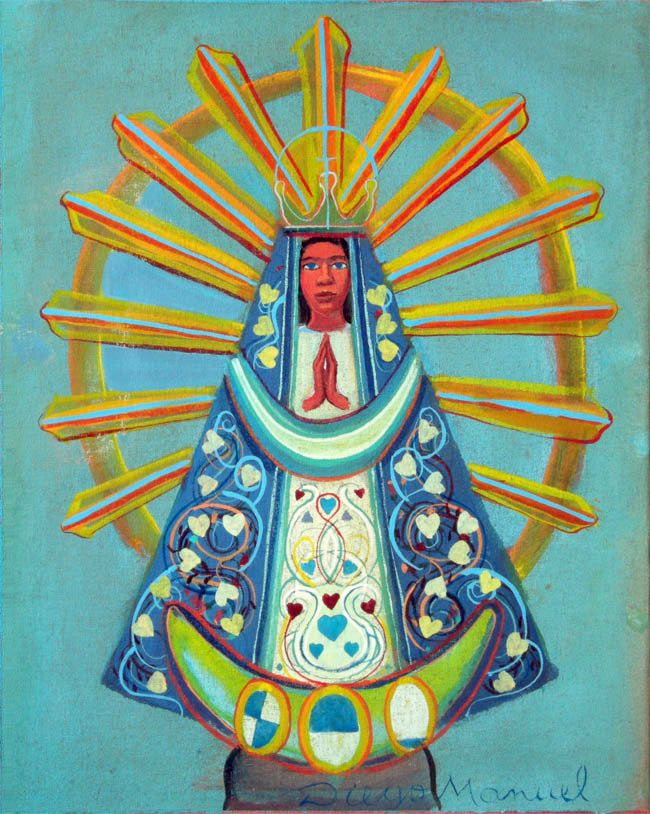 Virgen de Lujan 3, acrylic on canvas. 30 x 24 cm. 2015 painting by Diego Manuel