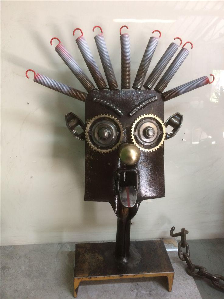 Yard art/garden art / metal sculpture shovel head made from junk metal