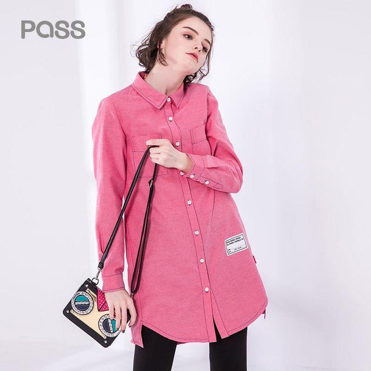 Women Turn Down Collar Long Sleeve Pink Dress Letter Print Women Button Casual Dress