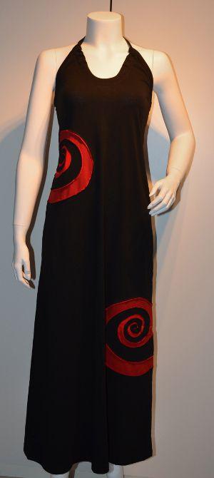 Sort Multikjole med halterneck og 2 røde spiraler.