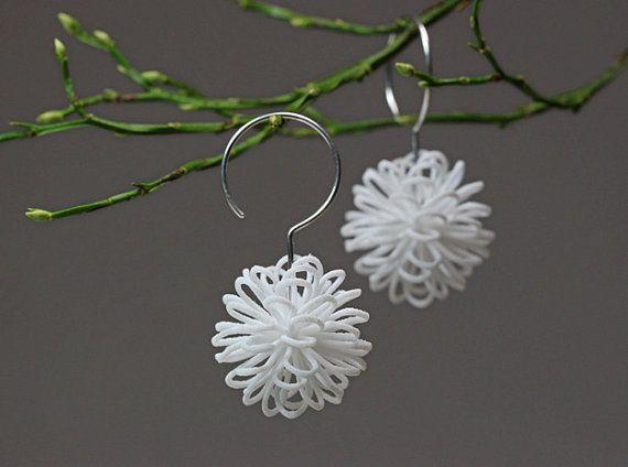 White Statement Earrings Snowflake Earrings Christmas by XbyAB