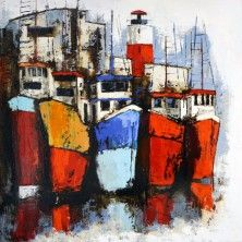 Oeuvre Marine - Puerto pesquero con faro - Natalia Villanueva - Huile