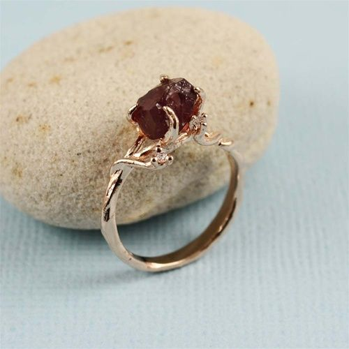 Handmade Pink Gold Raw Garnet Ring- I love uncut/unpolished stones. There's just something so magical and rustic about them, very fairy-tale.