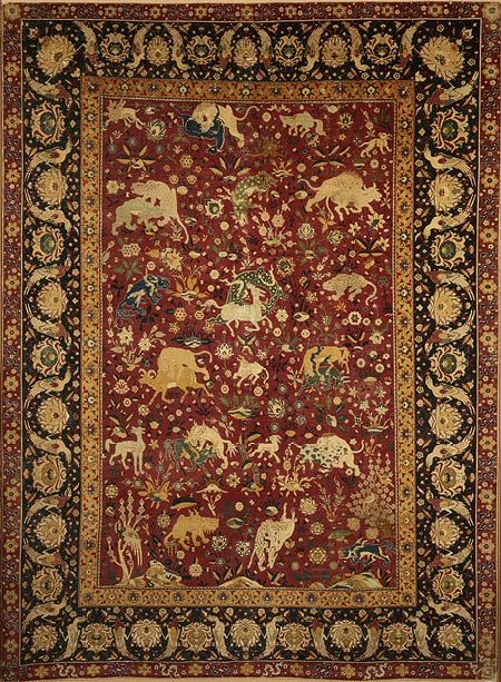 Kashan carpet, second half of 16th century; Safavid Iranian; Attributed to Kashan, Iran Pile weave, silk pile on silk foundation, 508 asymmetrical knots per square inch
