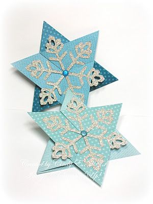 Folded star card with link to tutorial