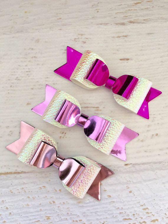 Arcos metálicos hairbow rosa fucsia por Littlesparklesbtique