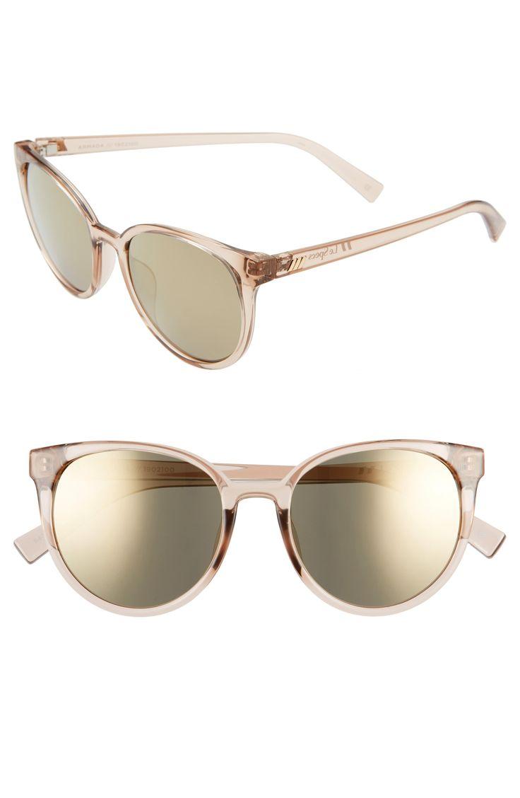 Women's Le Specs Armada 54Mm Mirrored Cat Eye Sunglasses – Stone/ Dark Gold Mirror