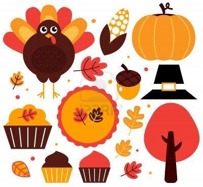 Thanksgiving items set. Vector Illustration