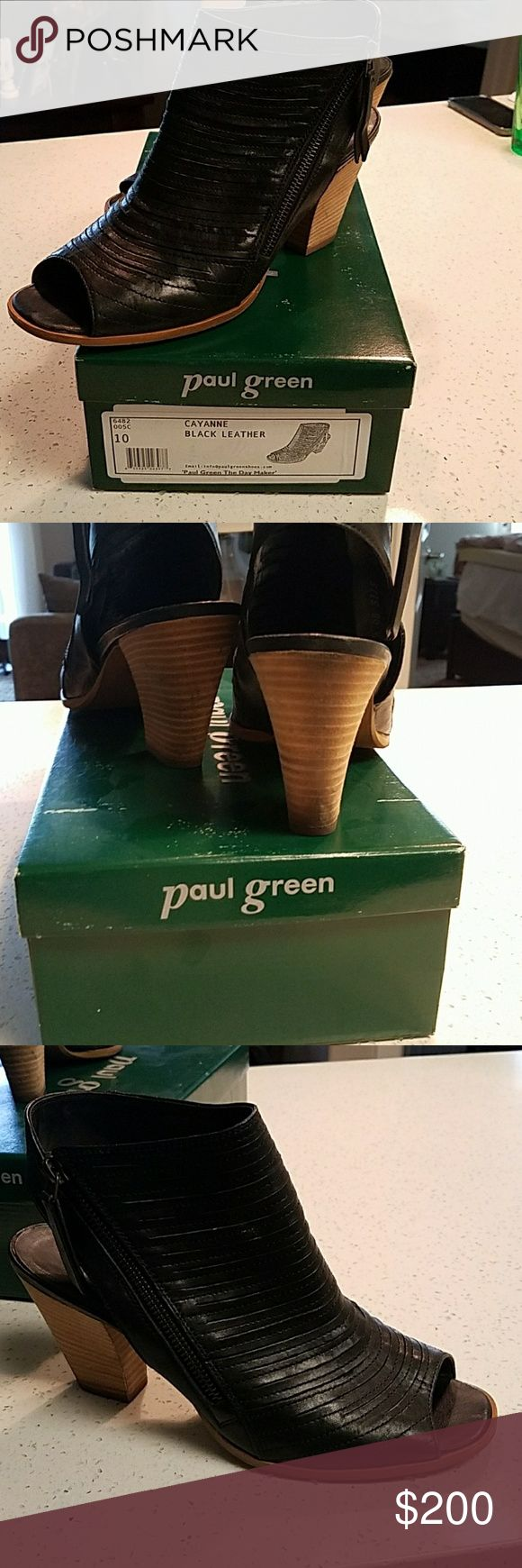 "Paul Green ""Cayenne"" Sandal Super soft leather ""shootie"" pleated leather with fumctional zipper detail. 3"" heel height. Extremely comfortable. Very gently worn. Paul Green Shoes Sandals"