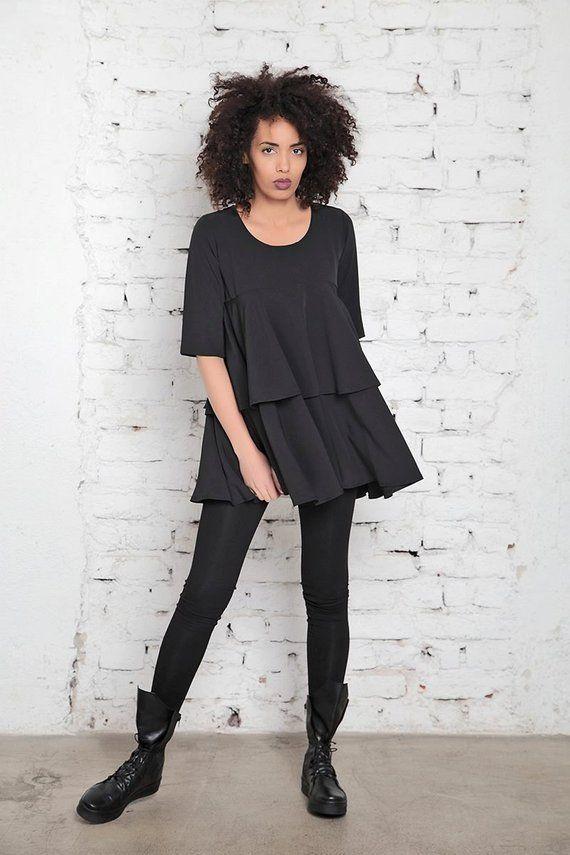 Long Black Tunic Plus Size Tunic Long Tunic Top Black Gothic Top Gothic Clothing Maxi Tunic Oversize Tunic Women Tunic