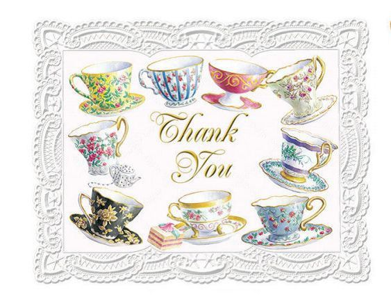 Carol Wilson Carol's Rose Garden Teacups Thank You Cards