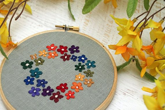 Bright RAINBOW Floral Bouquet Wreath Embroidery Hoop Art
