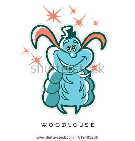 One wood louse stands with a hat, a mustache and several stars. Vector illustration of funny insects in cartoon style.  Image in turquoise and orange colors.
