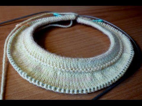 Росток при вязании спицами круглой кокетки сверху вниз - YouTube
