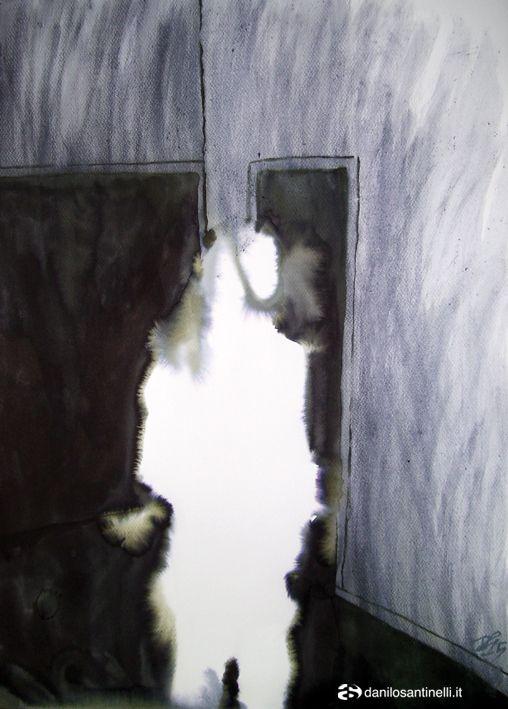 "Danilo Santinelli ""Portrait of De Dominicis in gallery 5"", ink on paper, 50x70cm"