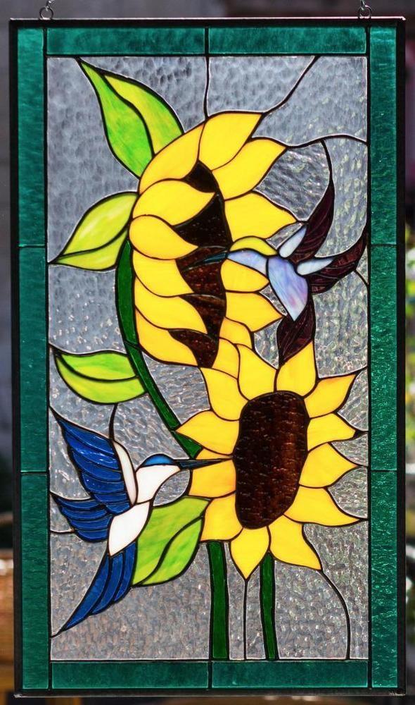 Hummingbird & Sun Flowers Tiffany Stained Glass Window RV Window Panel - 21x12