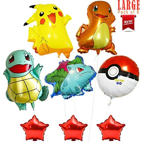 """Large Pokémon Balloons  26"""" Pikachu Bulbasaur Charmander Squirtle Pokemon Go 3-Red Stars 8""""   Party Supplies  Pack of 8 Balloons  Happy Birthday Party Decoration Supplies By Alpha-One Sellers  ✔ KIDS Birthday Party Pokemon balloons decorating kit!  ✔ 5-PACK Pokemon Foil Balloons (Pikachu, Bulbasaur, Charmander, Squirtle and Pokemon Go) -Both sides are shown  ✔ 3-PACK Small Red Stars NON-FLOATING DECORATIVE BALLOONS  ✔ DELIVERED UNINFLATED....JUST ADD HELIUM AND ENJOY YOUR PARTY  ✔ CELE..."""