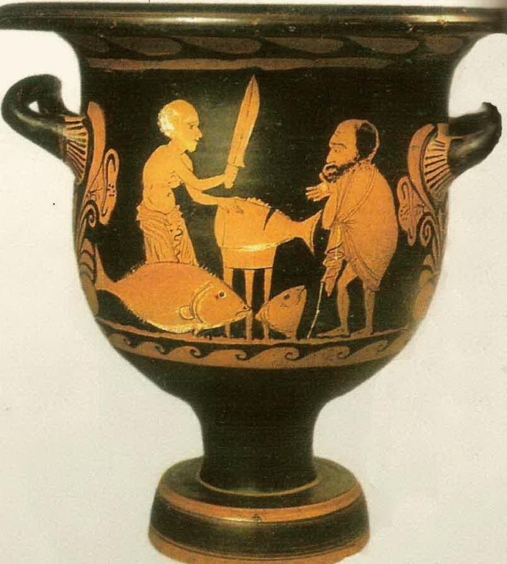 VENDEDOR DE PESCADO. Ceramica, s. IV a. C., cratera conservada en el Museo de Mandralisca Cefalu, 380-370 a.C.