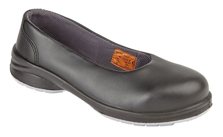 2213: Our first featured ladies safety footwear is our black 'Star Court Shoe'. It's rated as S1P/SRC which means it has a steel toe cap to protect your toes, and a midsole to prevent penetrating objects piercing the sole of the shoe. It's also anti-static and is SRC, the highest slip rating possible. Available in sizes 3 - 9. RRP £33.95.  Available from good PPE stockists.