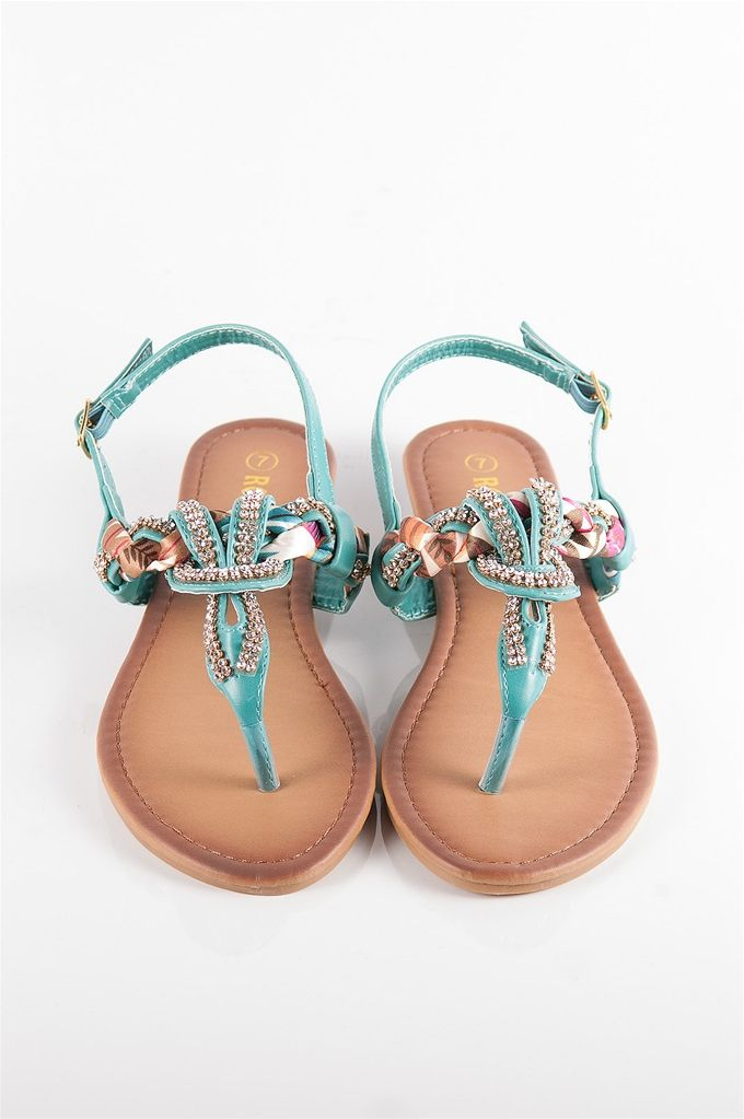 Jeweled and Woven Scarf Thong Sandal - Teal from Sandals at Lucky 21 Lucky 21