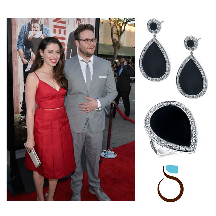 "Lauren Miller wears #SylvieCollection Diamond and Onyx Earrings!  Lauren Miller, star of ""For a Good Time, Call…"" and wife of comedian/actor Seth Rogan, wore our #diamond and #onyx #earrings and #ring to the April 28th premiere of ""Neighbors"" starring Seth and actor Zac Efron. #jewelry"