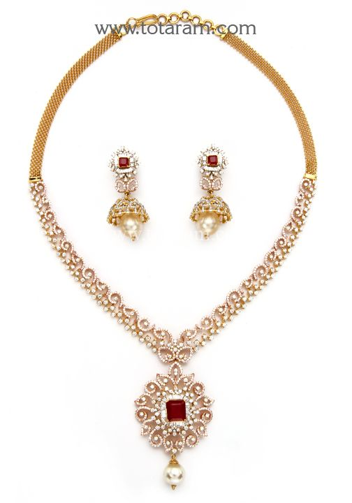 18K Rose Gold Polish '2 in 1' Diamond Necklace Cum Pendant & Earrings Set with Ruby , Onyx & South S