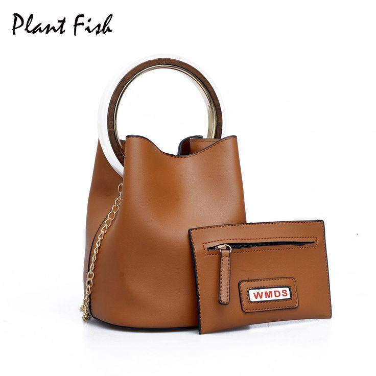 Metal Ring Women Bucket Bags Crossbody Bag with Chains Simple Vintage Style Shoulder Pack Luxury Handbags Women Bags Designer