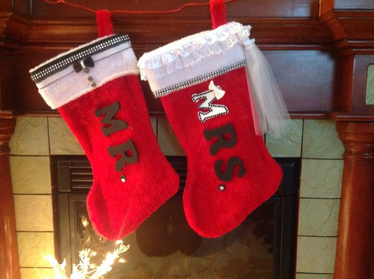 Christmas stocking, personalized stocking, couple christmas gift, Mr  and Mrs gift, bridal shower gift, holiday stocking, holiday gift, - pinned by pin4etsy.com