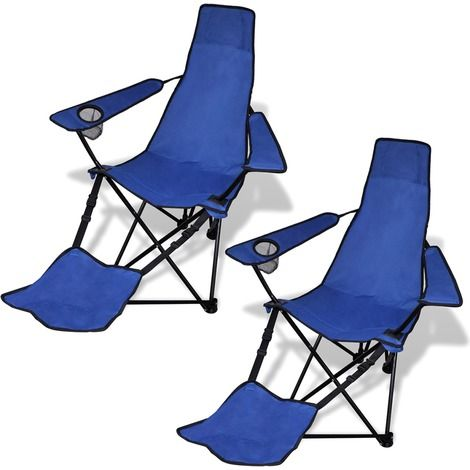 Charming 2 Pcs Foldable Camping Chair With Footrest Blue   Garden And Outdoor