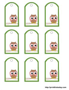 Printable owl tags