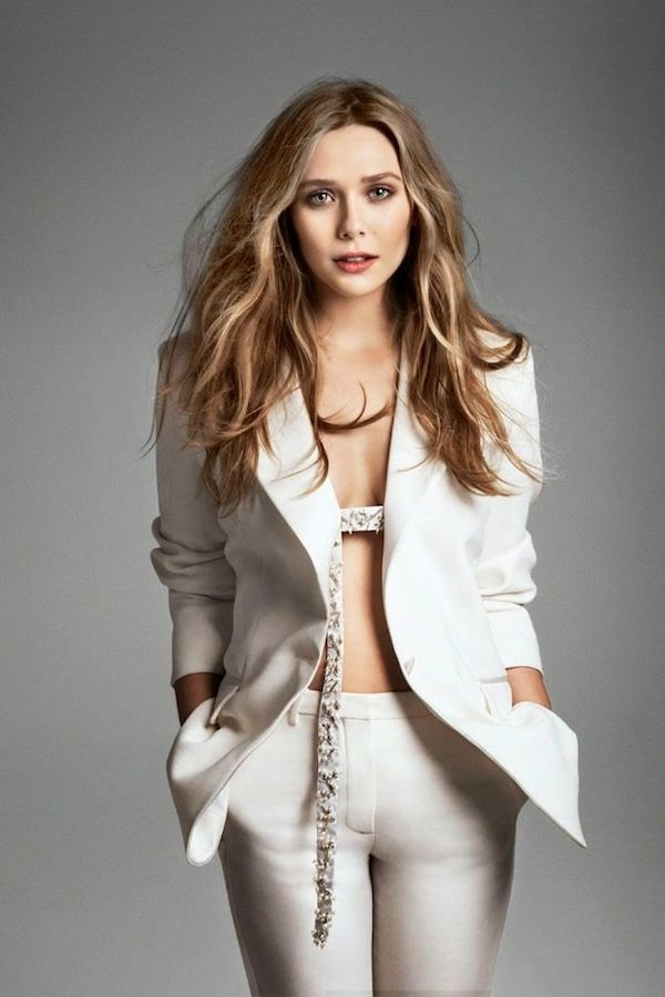 Olsens Anonymous Blog Elizabeth Olsen Marie Claire 2014 White Pant Suit Embellished Belt photo Olsens-Anonymous-Blog-Elizabeth-Olsen-Marie-C...