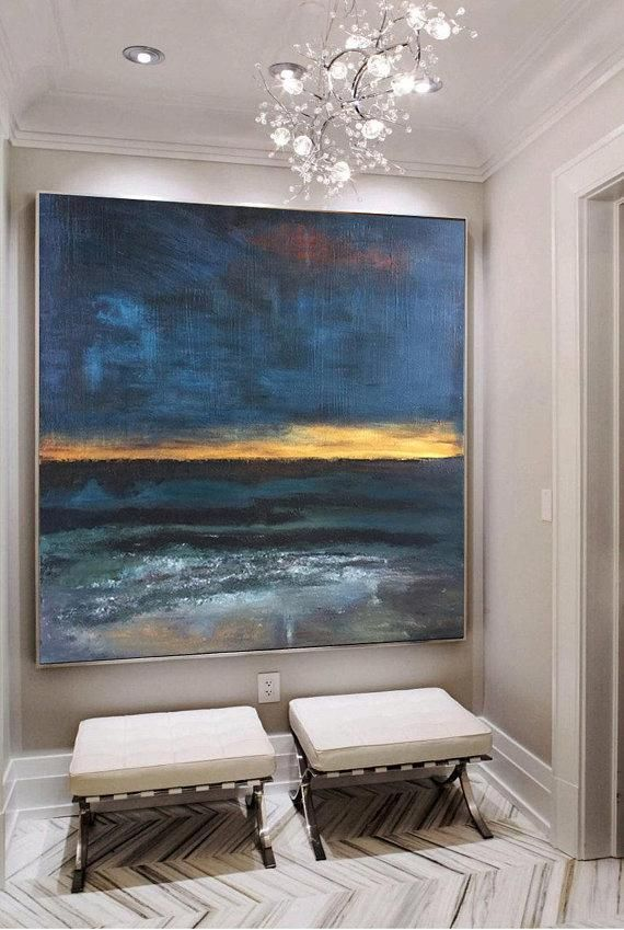 Large Original Painting On Canvas Blue Painting Gold Painting Etsy Large Canvas Art Blue Abstract Painting Modern Art Abstract