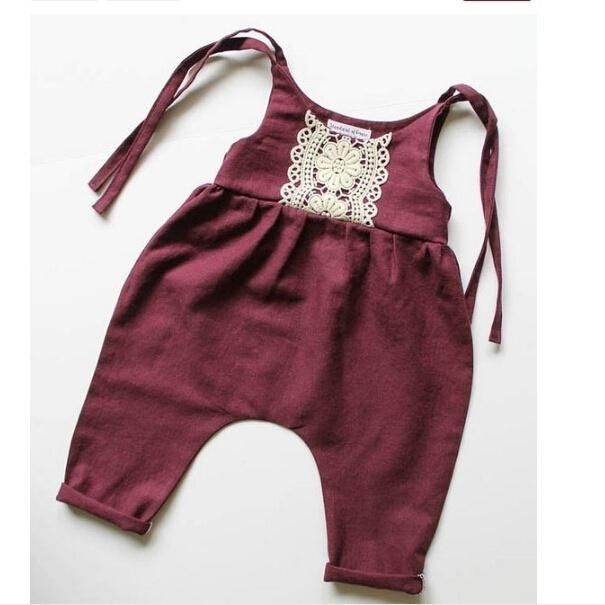 Toddler Girl Jumpsuit – One Piece Sleeveless Kids Jumpsuit Wine Red
