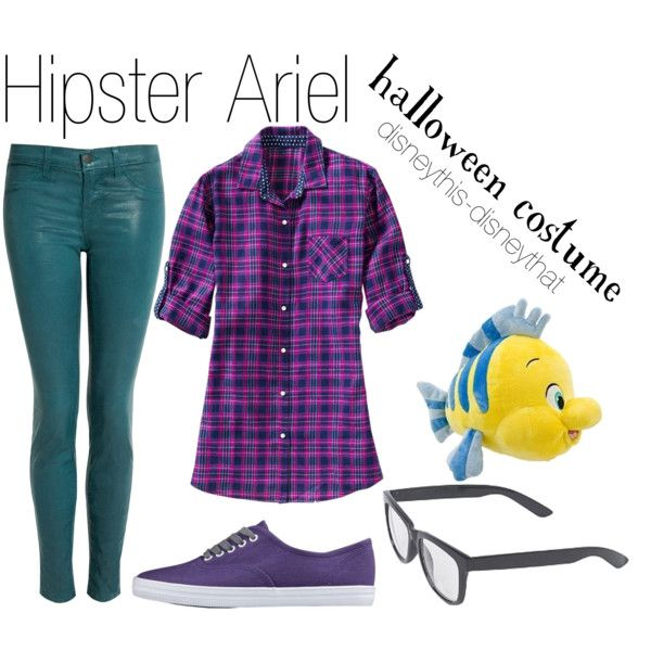 """Hipster Ariel"" halloween costume by disneythis-disneythat on Polyvore"