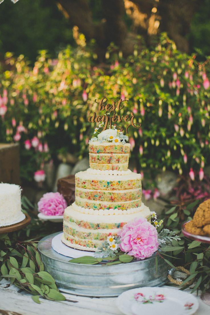 Sweet Tables Main Cake Naked Funfetti Wedding Cake