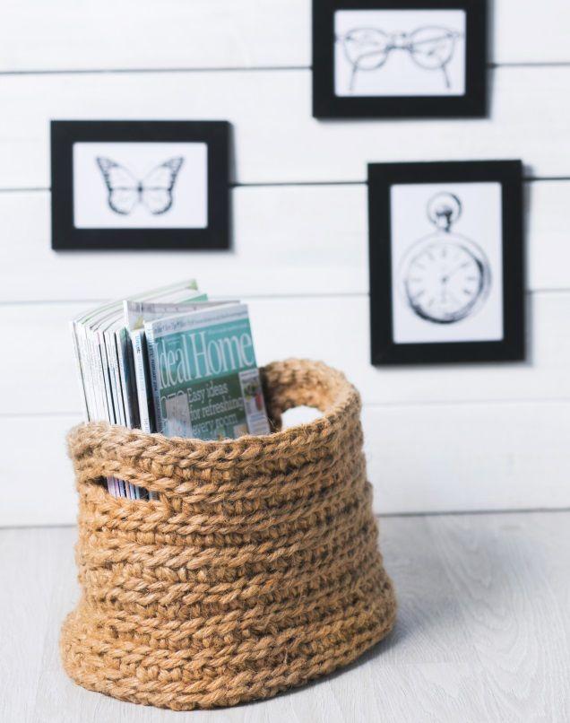Virkkaa narusta kori. Crochet a basket using cord.   Unelmien Talo&Koti Kuvaaja: Satu Nyström Toimittaja: Anette Nässling