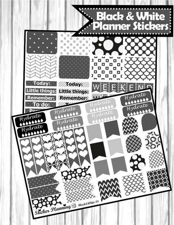 Black and White Planner Stickers for Erin Condren, Happy Planner, Filofax…
