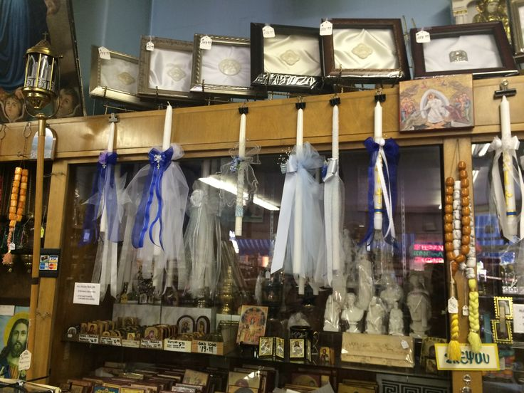 More baptismal candles at Greek store