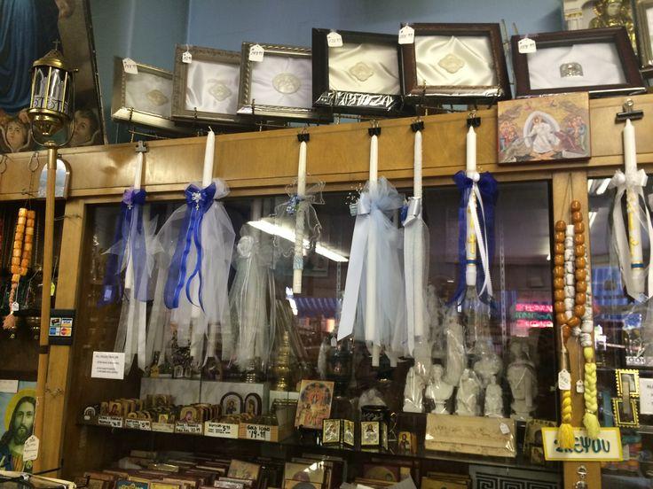 More baptismal candles at Greek store