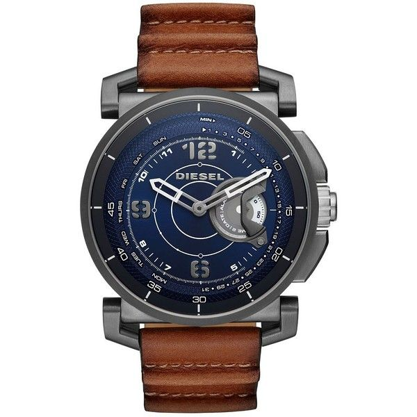 Diesel Gunmetal Tone Stainless Steel and Leather Hybrid Smartwatch (810 BRL) ❤ liked on Polyvore featuring jewelry, watches, brown, rugged watches, stainless steel wrist watch, dial watches, gunmetal watches and gun metal watches
