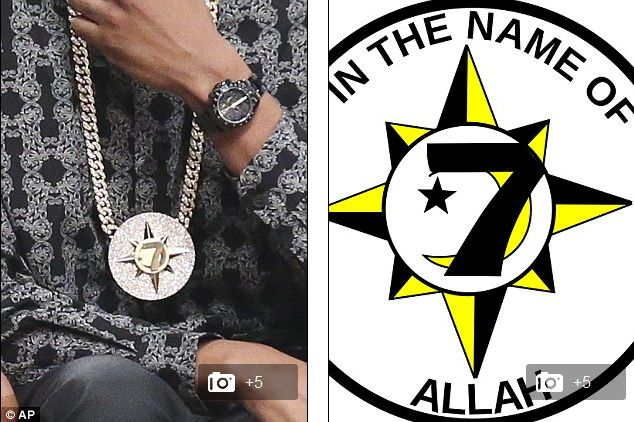 Jay-Z's gaudy medallion of 'Five Percent Nation' group who believe whites are 'wicked and weak. '