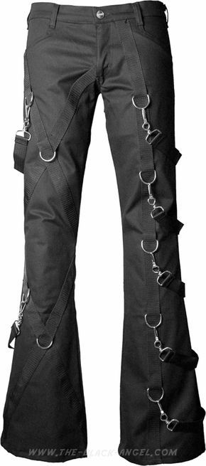 Black gothic bondage pants by Aderlass, with metallic d-rings and removable straps.