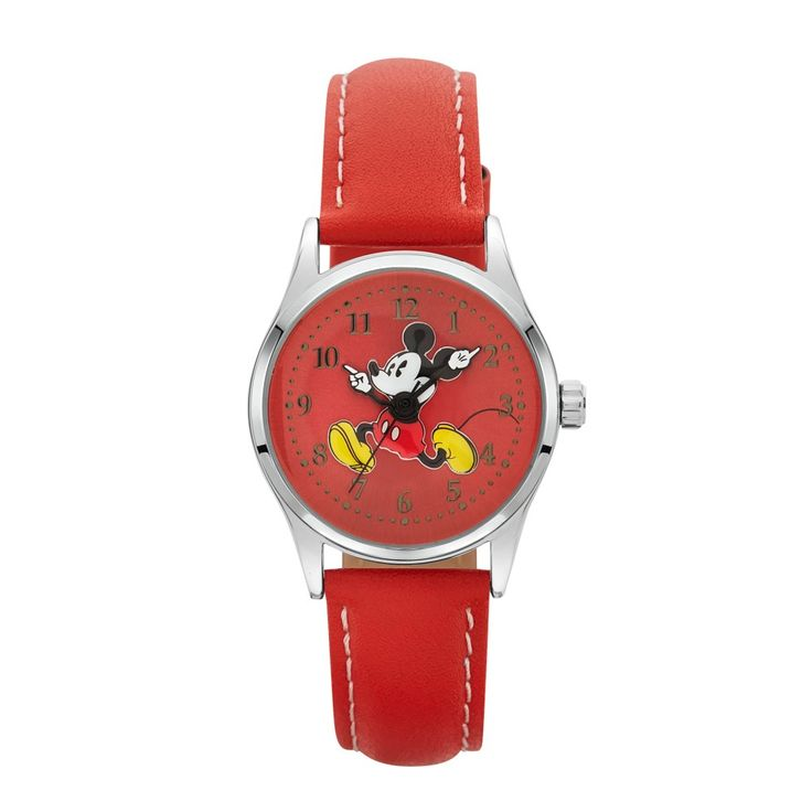 The Original Mickey Collection Watch - Silver + Red 34mm