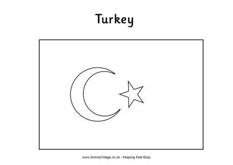 Turkish flag colouring page