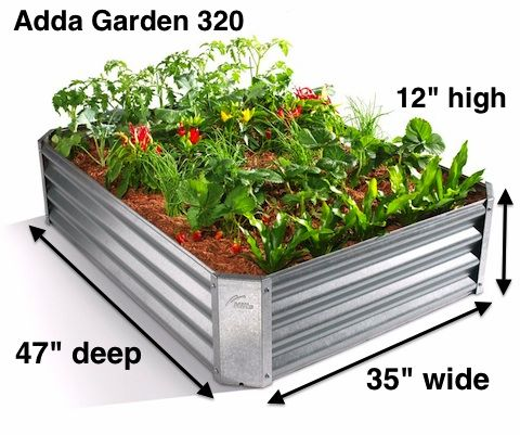 Adda Garden 320: Designed to fit on the side of a house and deep enough to grow a full range of vegetables.