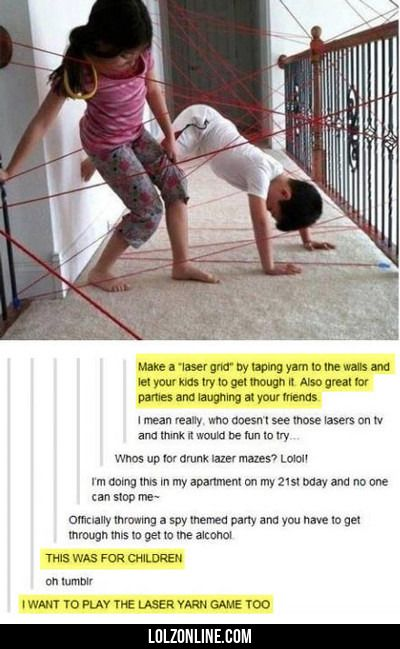 Make A Laser Grid By Taping Yarn To The Walls...#funny #lol #lolzonline